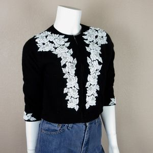 Vintage 1960s Hand Beaded Cropped Sweater, Sz S